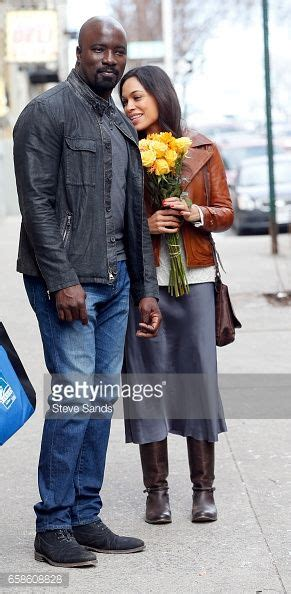 mike colter daughter news photo rosario dawson and mike colter filming