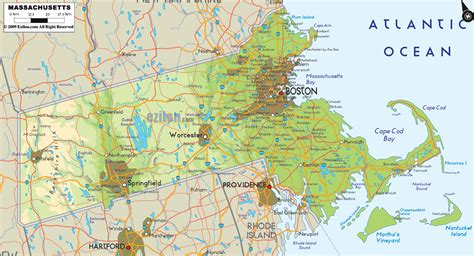mass map physical map of massachusetts ezilon maps