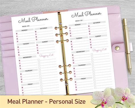 printable planner personal size personal size meal planner printable weekly meal planner