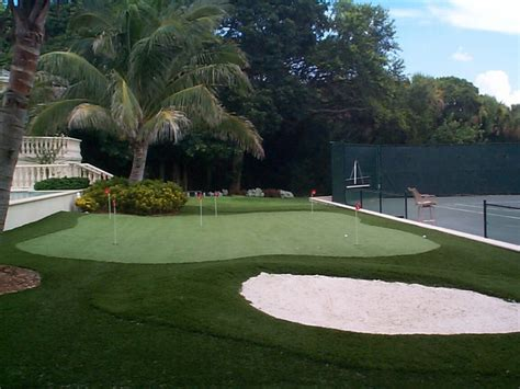 residential putting green tropical landscape miami