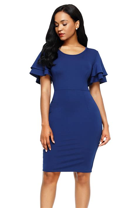 Slit Sleeve Sheath Dress cheap royal blue flare sleeve back slit sheath dress