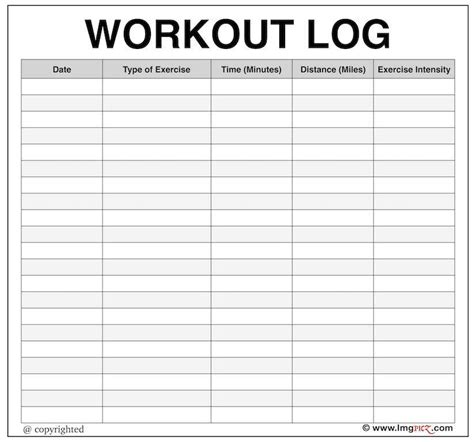 free printable workout log template exercise log template lukex co