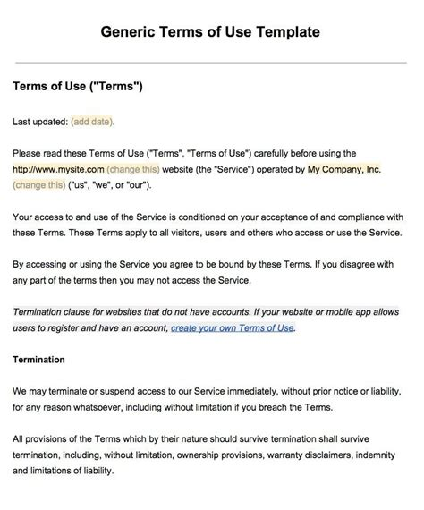 Term Of Use sle terms of use template termsfeed