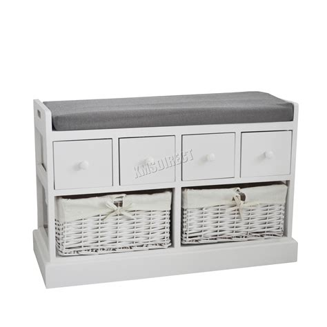 wooden storage bench with drawers foxhunter wooden storage bench seat with 2 wicker basket