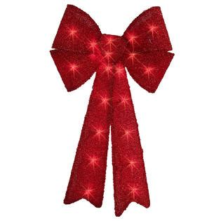 find your joy 24 lighted holiday bow trim a home 174 24 quot tinsel lighted bow with 20 lights seasonal indoor decor