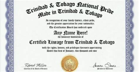And Tobago Birth Records And Tobago Trinidadian Tobagonian National Pride Certification Custom