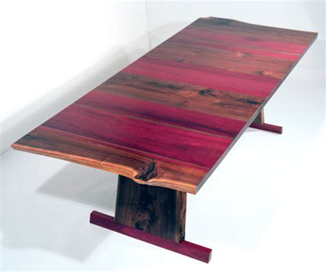 Rustic Wood Kitchen - solid walnut dining table absolutely gorgeous with purple heart wood