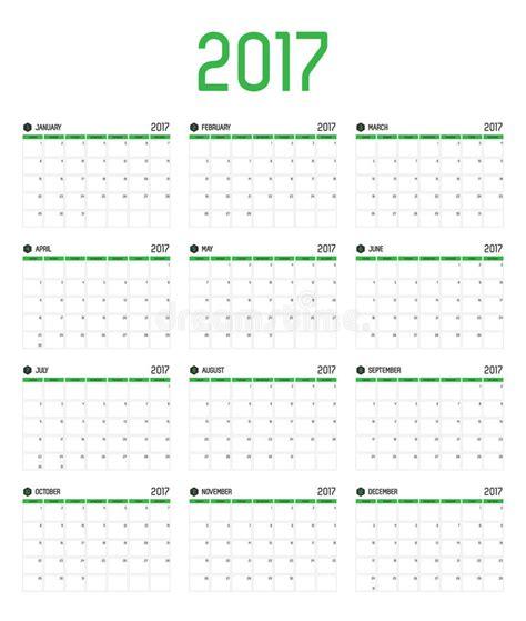 new year 2017 week vector of calendar 2017 new year 12 month calendar set