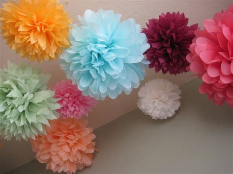Tissue Paper Pom Poms - 20 tissue paper pom poms wedding decoration by prosttothehost