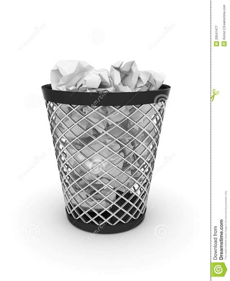 Trash Bin With Crumpled Paper Stock Illustration