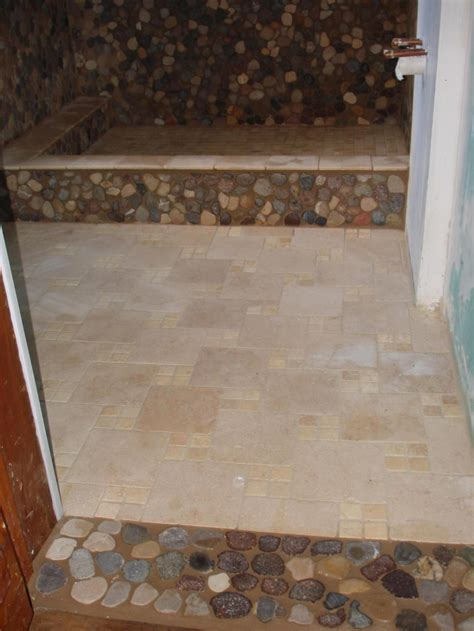 travertine river rock shower 27amazing bathroom pebble floor tiles ideas and pictures