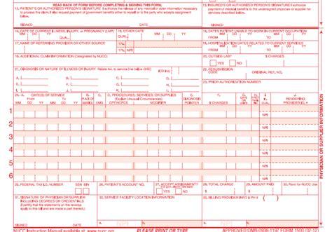 Claim Form Cms 1500 Claim Form Cms 1500 Version 02 12 Template