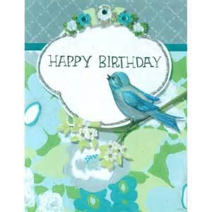 happy birthday card blank inside blue green flowers bird violet cottage