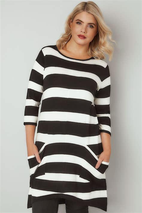 Tunic Stripe black white stripe tunic dress with pockets plus size