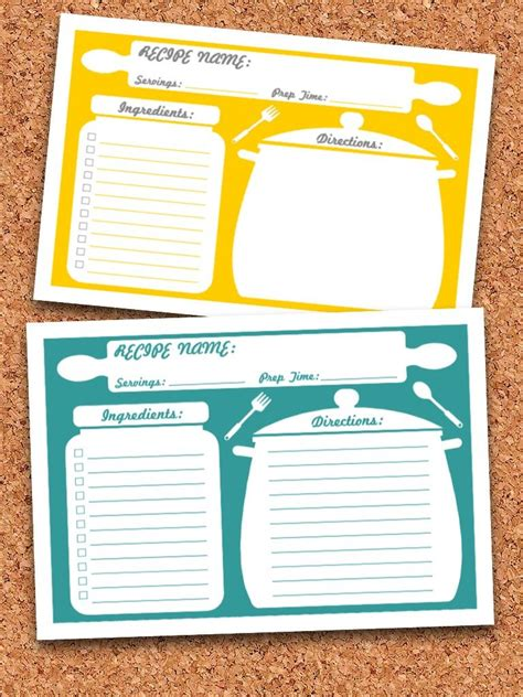 recipe cards template recipe cards printable editable instant