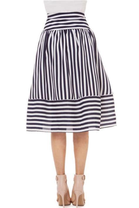 black and white pretty womens striped chiffon flare skirt