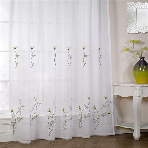 voile curtain panels uk melissa floral embroidered voile curtain panel ebay