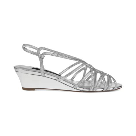 evening wedge sandals fabiana evening wedge sandals in silver lyst