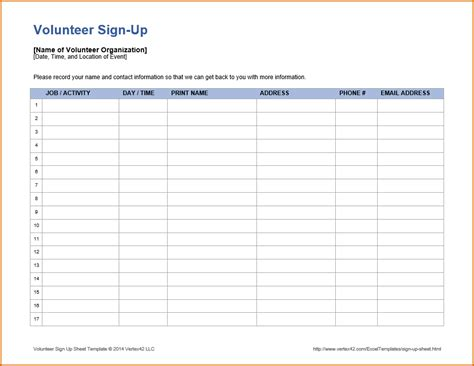 template for sign up sheet 10 volunteer sign up sheet template
