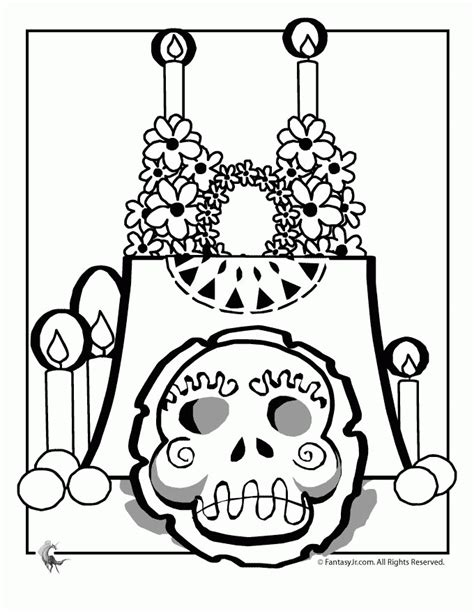Day Of The Dead Altar Coloring Page Dia De Los Muertos Day Of The Dead Altar Coloring Pages