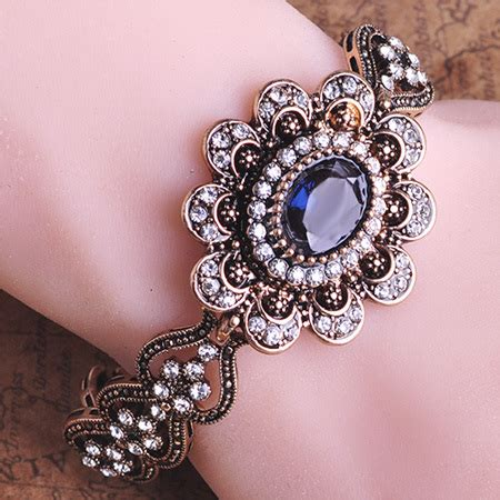 Vintage Jewelry Made New by 2015 Classic Retro Turkish New Rhinestone Antique Gold