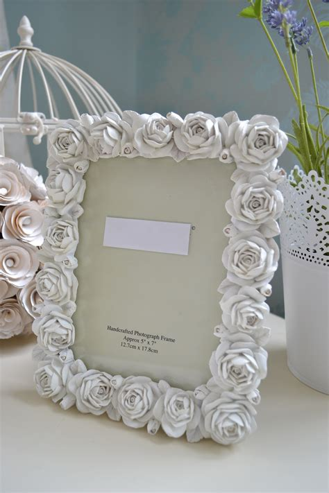 Shabby Vintage Chic White Rose Photo Frame Ornate Carved How To Make Shabby Chic Picture Frames