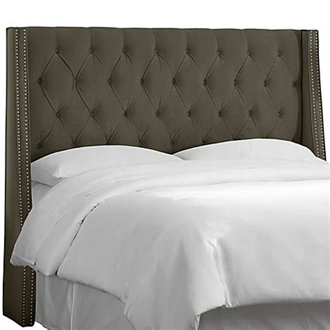 skyline furniture tufted wingback headboard in velvet skyline furniture tufted nail button wingback headboard in