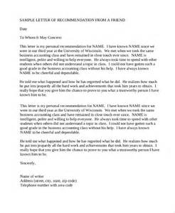 Recommendation Letter Personal Friend Sle Recommendation Letters 8 Exles In Pdf Word
