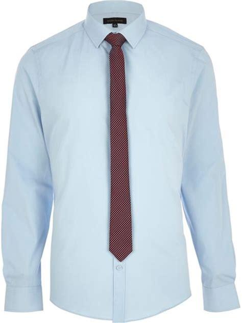 light blue shirt with tie river island light blue sleeve shirt with tie in blue