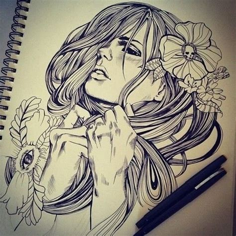 tattoo ink unregulated free hand marker drawing super rad art featuring a woman