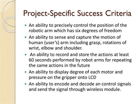 design success criteria ppt dummy arm environment and ethical design