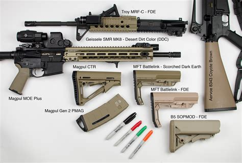 fde color fde shades side by side magpul mft b5 geissele troy
