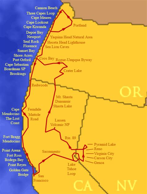 map of oregon and california coast map of oregon and california coast