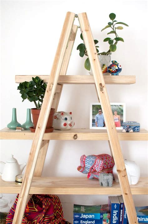 Diy Ladder Shelves A Pair A Spare Ladder Bookcase Diy