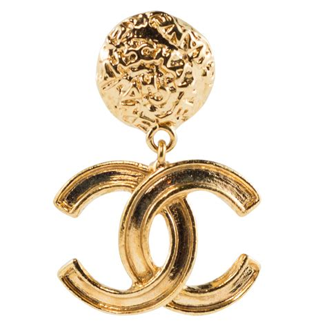 chanel vintage signed gold tone cc logo earrings 1995