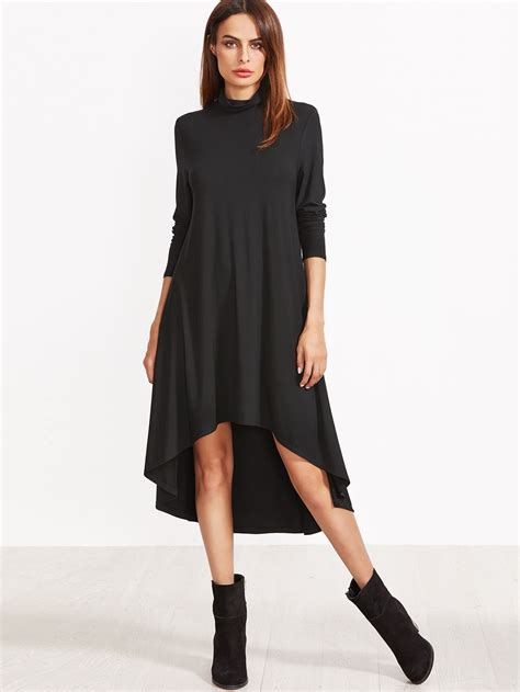 black cowl neck high  swing dress emmacloth women fast