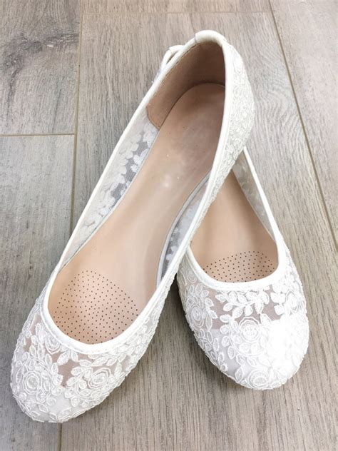 White Wedding Flats by Wedding Shoes Bridesmaid Shoes White Lace Flats