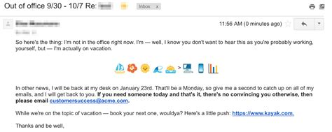 14 Out Of Office Message Exles To Copy For Yourself Right Now Yesware Blog Out Of Office Email Template