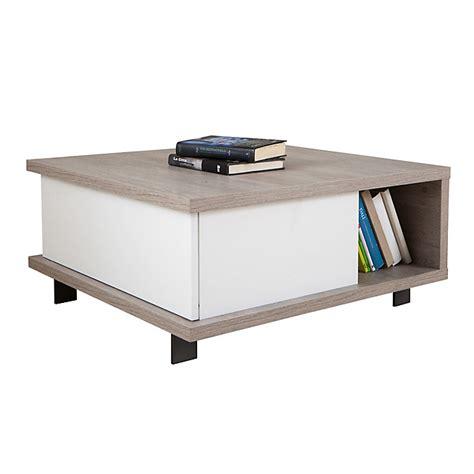 table basse avec tiroir de rangement et niche traversante