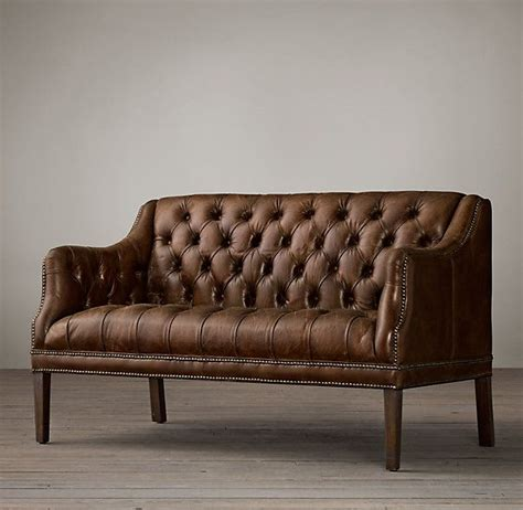 Everett Tufted Leather Settee Bed Sofa And Chairs From Restoration Hardware Tufted Sofa