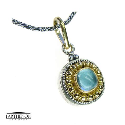 Handmade Jewelry Greece - handmade pendant charm silver and 18k solid gold