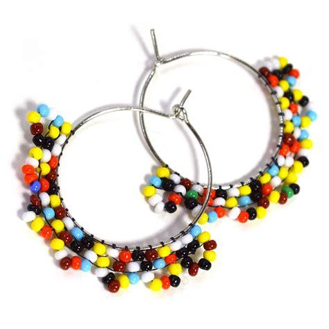 multi colored beaded hoop earrings