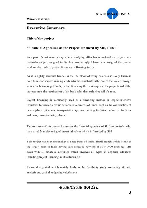 Mba Year Project In Finance by Project Financed Sbi Project Report Mba Finance