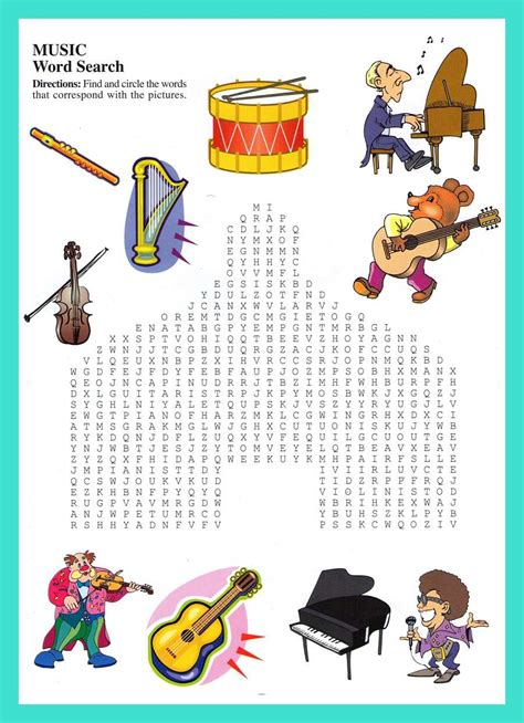 Musically Search 14 Cool Word Search Puzzles Baby