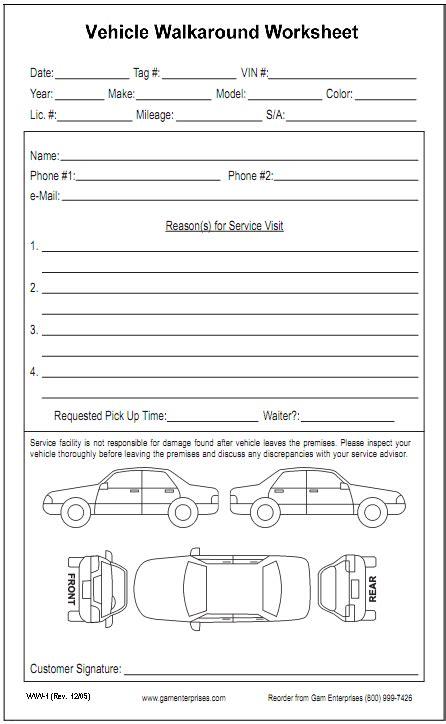 vehicle walkaround worksheet