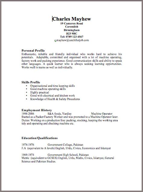 10 cv samples with notes and cv template uk