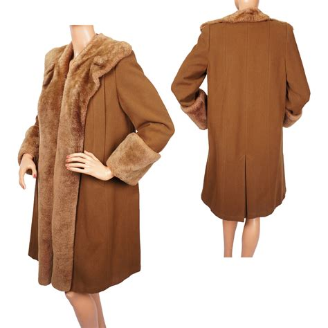 ladies wool swing coat vintage 1940s swing era coat brown wool with shearling