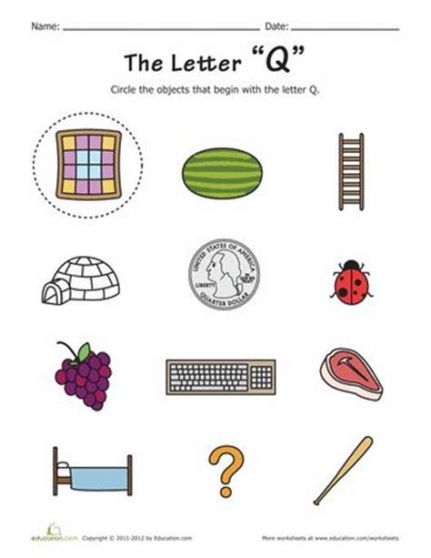 Letter Starts With Q things that start with q worksheets