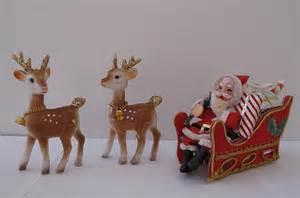 vintage santa sleigh and reindeer decorations 1960s flickr
