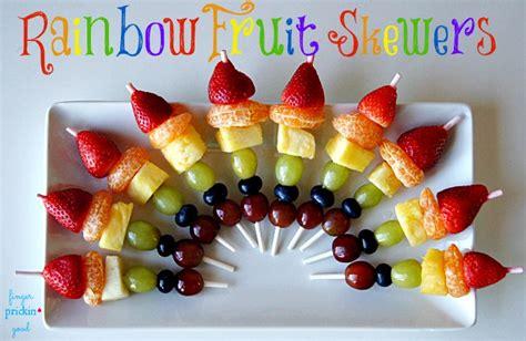 rainbow fruit skewers finger prickin good